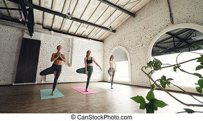 Yoga group is doing tree position Vrikshasana standing on...