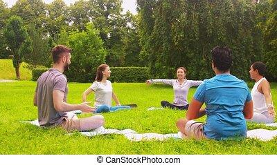 yoga, groupe, parc, gens, été