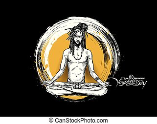 Yoga Guru Baba Looking for Inner Peace. Hand Draw Sketch Vector Illustration.