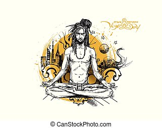 Yoga Guru Baba Looking for Inner Peace with urban city. Hand Draw Sketch Vector Illustration.