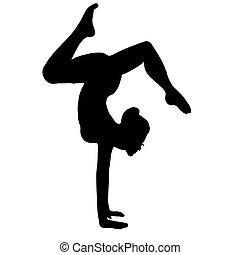 yoga, gymnast., ilustración, alto, vector, calidad, original