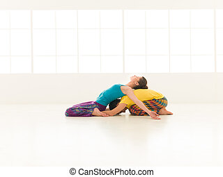 yoga, gymnastiksal, vibrerande färg