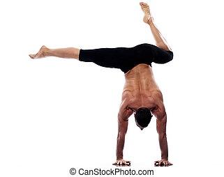 yoga, gymnastique, homme, portrait, acrobaties, handstand, ...