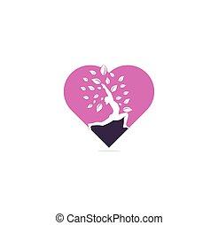 Yoga heart shape concept logo design