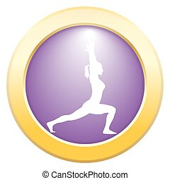 Yoga High Lunge Pose Purple Icon