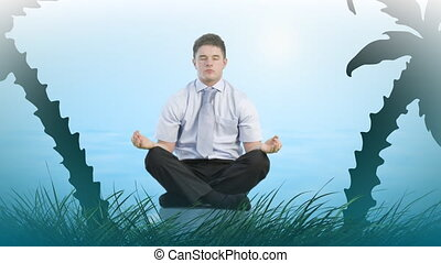yoga, homme affaires
