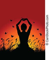yoga houding, hemel, tegen, ondergaande zon , vrouwlijk