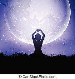 yoga houding, hemel, tegen, vrouwlijk, moonlit