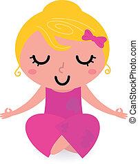yoga houding, vrijstaand, asana, meisje, witte