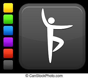 yoga, icona, su, quadrato, internet, bottone