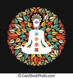 yoga, icone, atteggiarsi, chakra, mandala, natura