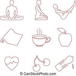 Yoga icons set.