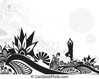 yoga illustration - A young man doing yoga silhouette in...