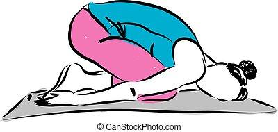 yoga, illustrazione, 1