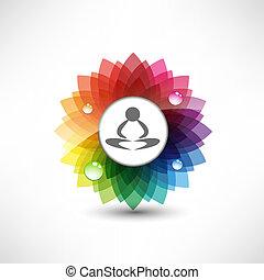 yoga., ilustração, meditação