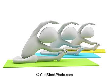 yoga, image., ludzie, tło., exercises., grupa, biały, 3d