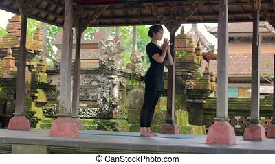 yoga in balinese temple