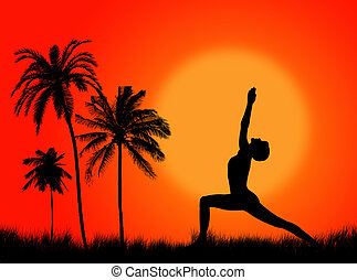 Yoga pose in the sunset and in the nature