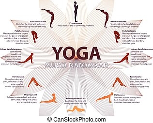 Yoga infographics, Surya Namaskar sequence, Salutation to...