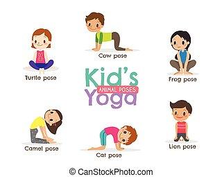 yoga kids poses vector illustration - yoga kids poses vector...