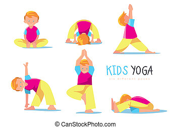 Yoga kids set, bitmap illustration.