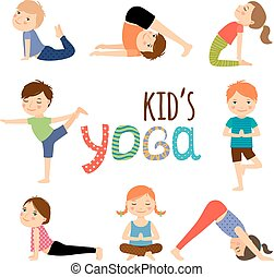 Yoga kids set. Gymnastics for children and healthy lifestyle...