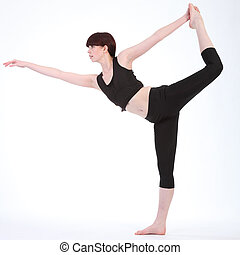 Yoga King Dancer Pose by beautiful fitness woman