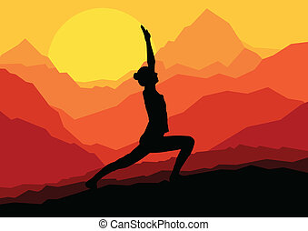 yoga, kobieta, wschód słońca, wektor, tło
