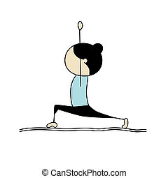 yoga, kvinna, öva, pose, krigare