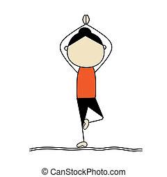 yoga, kvinna, pose, öva, träd