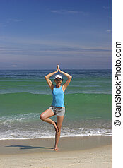 yoga, kvinna