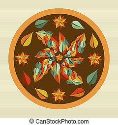 Yoga leaves mandala.
