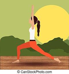 yoga, leven, ontwerp