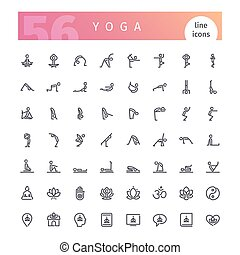 Yoga Line Icons Set - Set of 56 yoga line icons suitable for...