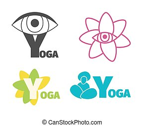 Yoga logo design template with eye, man silhouette and flower, letter Y.