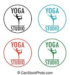 Yoga logo template. Fitness studio design.
