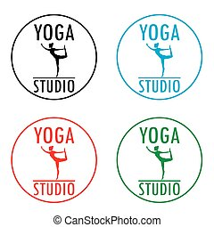 Yoga logo template. Fitness studio design.