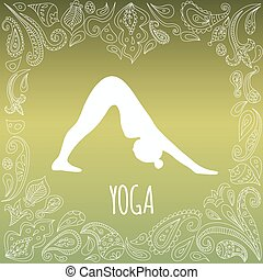 Yoga logo with heart frame and girl practicing Downward-Facing Dog (Adho Mukha Svanasana). White silhouette and beautiful green gradient background. Paisley ornament.