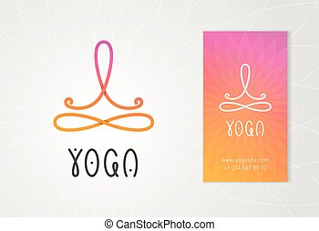 Yoga logo with man in lotus pose above the infinity sign.