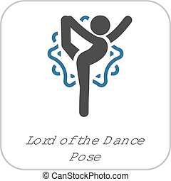 Yoga Lord of the Dance Pose Icon. Flat Design Isolated Illustration.