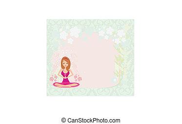 yoga, loto, cornice, posizione, ragazza