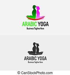 yoga, loto, hembra, logotipo, macho, o, icono