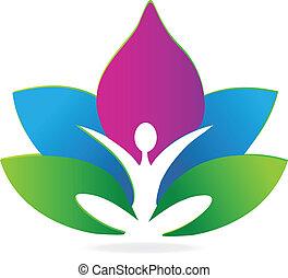 yoga, loto, meditación, logotipo