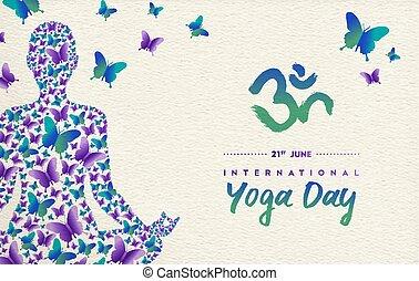yoga, lotosowa poza, dzień, rozmyślanie, dziewczyna, karta