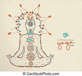 yoga, lotosowa poza, rozmyślanie, dzień, karta