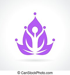 Yoga lotus abstract icon isolated on white background