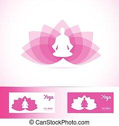 yoga, lotus fleur, méditation, homme, logo, forme