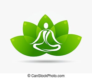 Yoga Lotus Flower Logo Illustration
