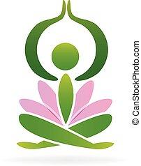 yoga, lotus, homme, logo