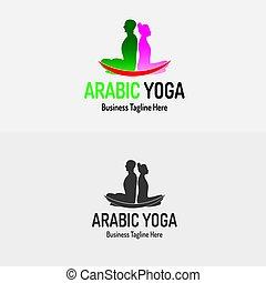 yoga, lotus, kvindelig, logo, mandlig, eller, ikon